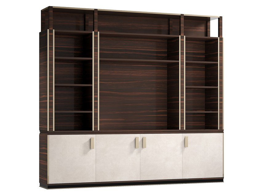 Open wooden bookcase with TV stand HUG | Bookcase with TV stand by Capital Collection
