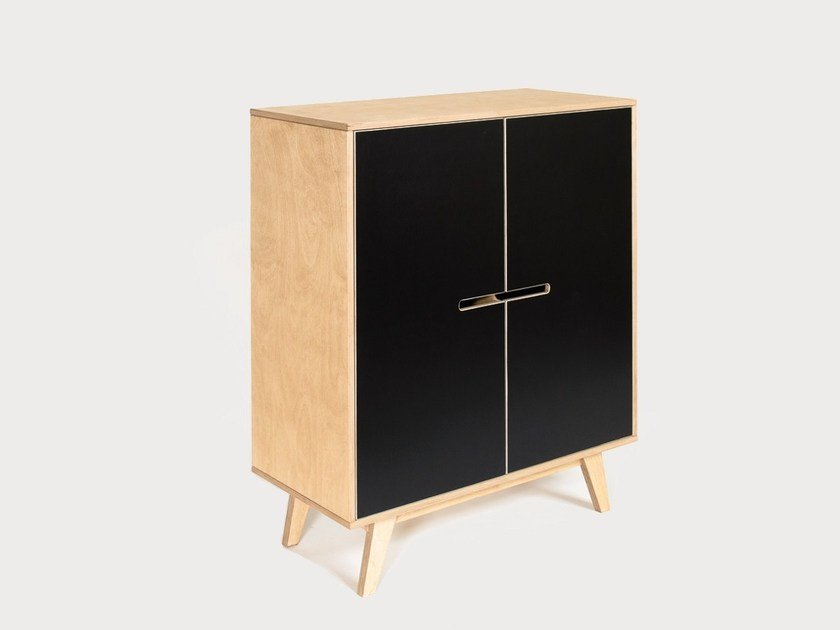 Plywood highboard with doors HUH 1x1 by Radis