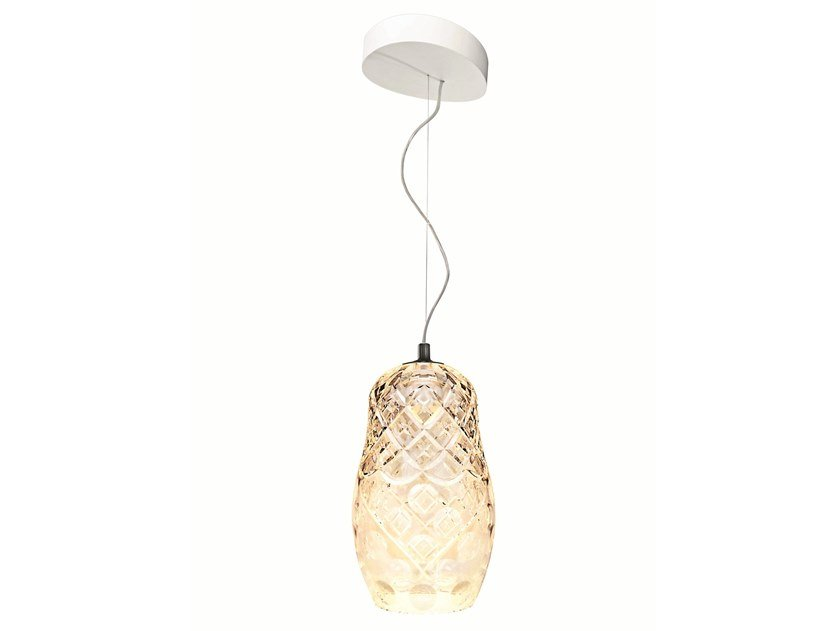 Crystal pendant lamp HULOTTE SINGLE by Saint-Louis