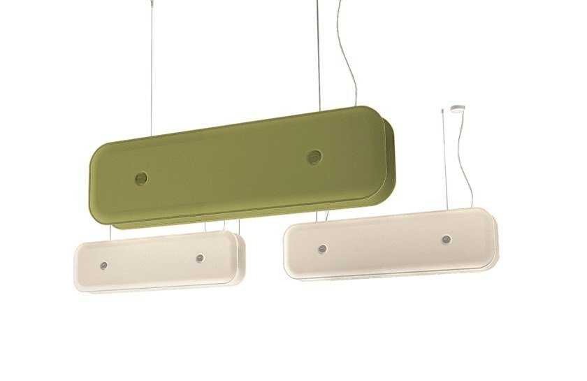 Acoustic baffles with Integrated Lighting HUSH by Martinelli Luce