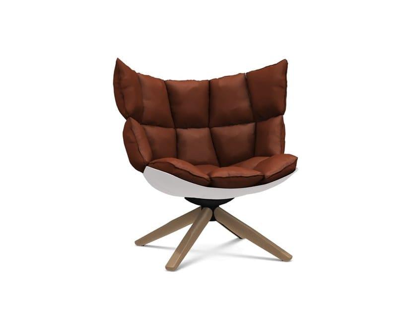 Upholstered trestle-based armchair HUSK   Armchair by B&B Italia