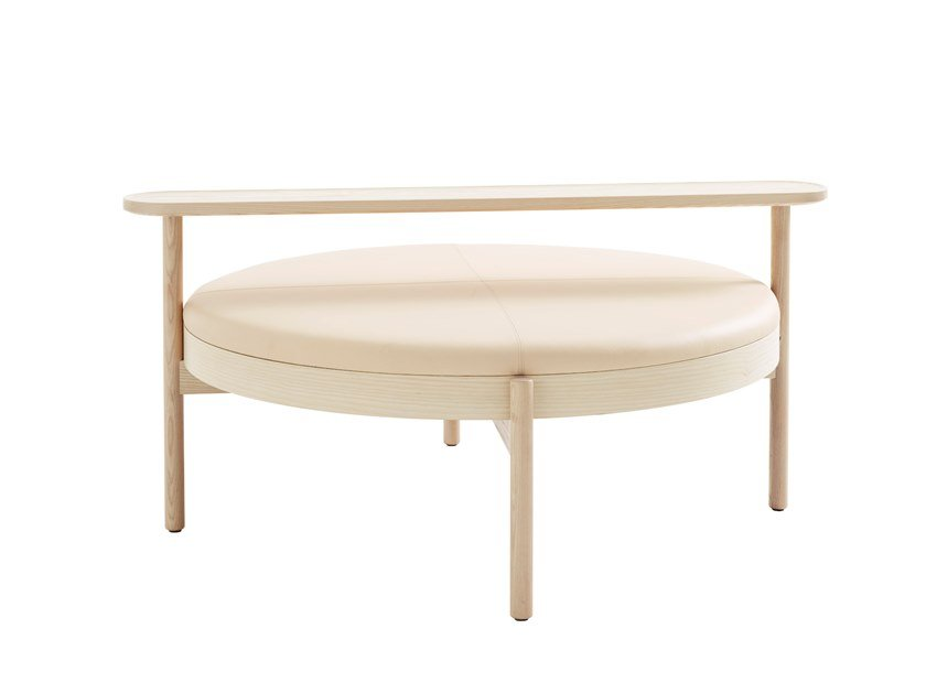 Round upholstered solid wood bench HYGGE by Karl Andersson