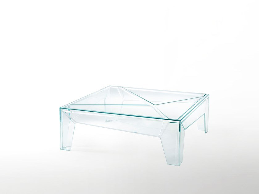 Low square crystal coffee table HYPERtable by Glas Italia