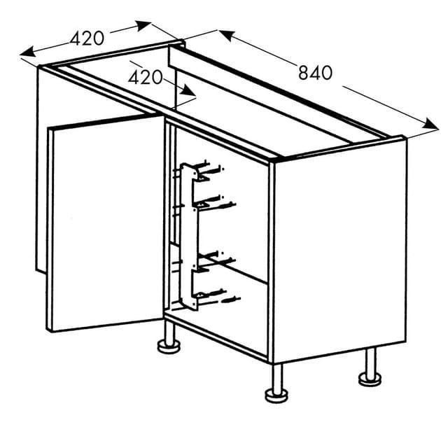Cestello Girevole Per Mobile Base Ad Angolo.Accessorio Interno Per La Cucina In Acciaio Cestello A Mezzaluna