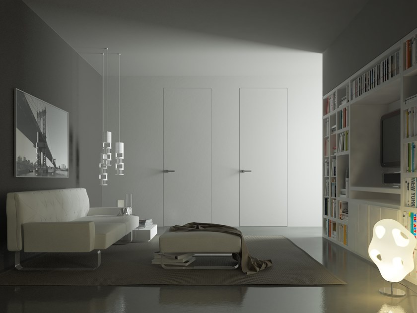 Hinged flush-fitting door without frame Hinged door by PannelloFilomuro