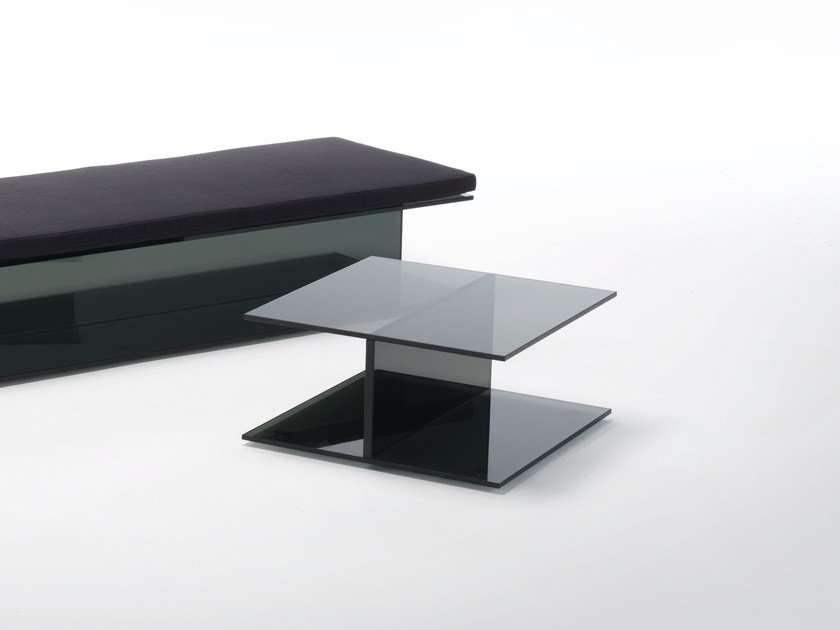 Low square crystal coffee table I-BEAM | Coffee table by Glas Italia