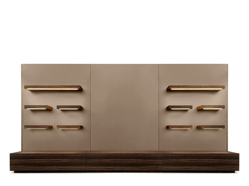 Sectional storage wall I-CHING | Storage wall by Grilli