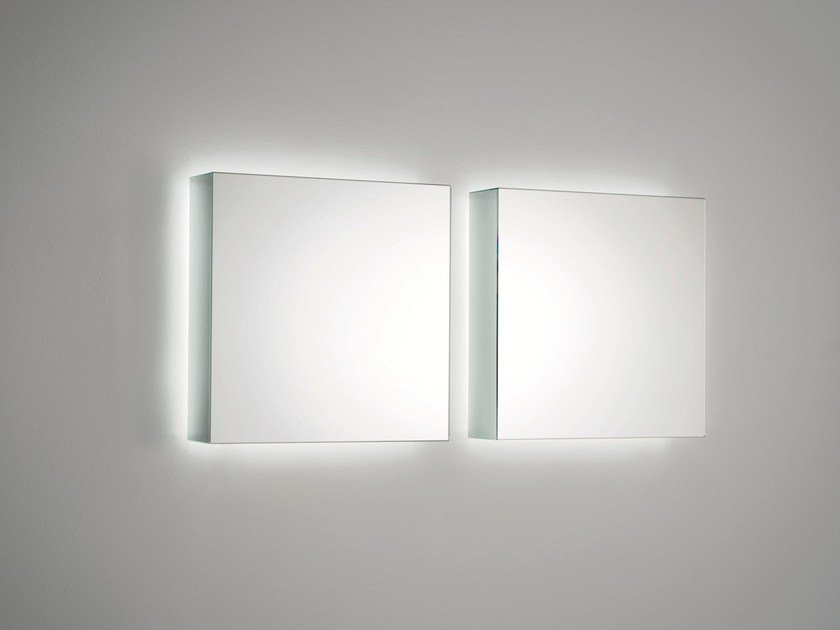 Wall-mounted mirror with integrated lighting I MASSI   Wall-mounted mirror by Glas Italia