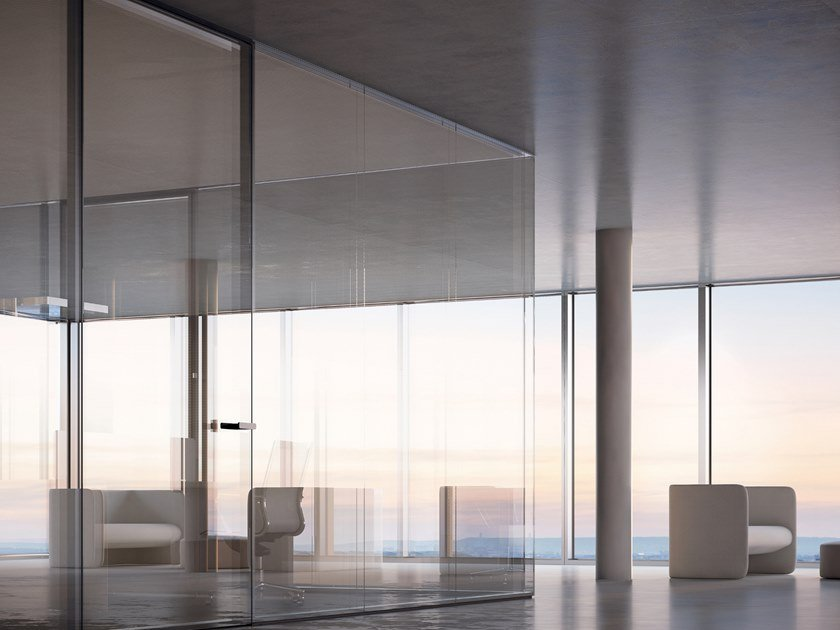 Glass office partition I-WALLFLUSH by FANTONI