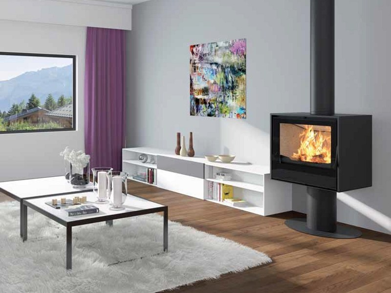 Wood-burning stove I700P - SOCLE ROND by Axis