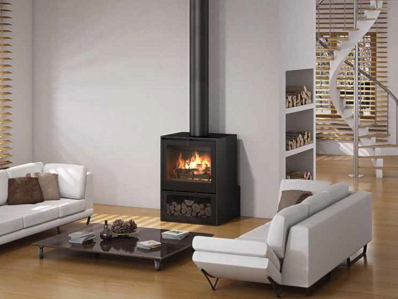 Wood-burning stove I800P - SOCLE BUCHER by Axis
