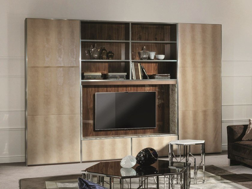 Sectional storage wall IANUS MIDDLE by Longhi