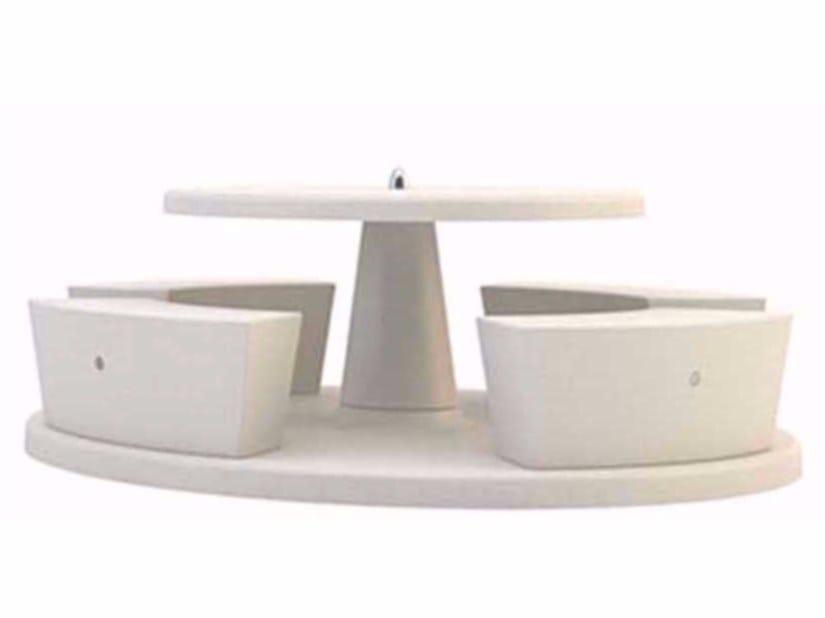 Table pour pique-nique ronde avec bancs intégrés ICARO By ...