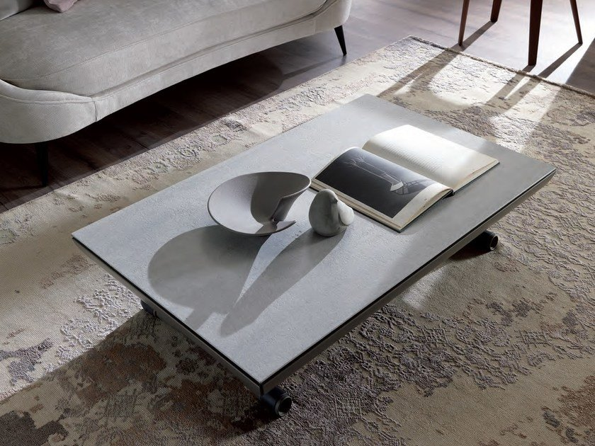 Height-adjustable rectangular coffee table ICARO by Ozzio Italia