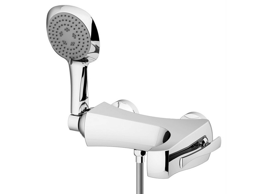 Wall-mounted bathtub mixer with hand shower ICARUS | Bathtub mixer by Gattoni Rubinetteria