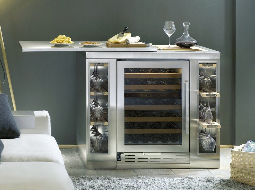 Freestanding Upright Stainless Steel Wine Cooler With Gl Door Cl E Icb424gs Bar