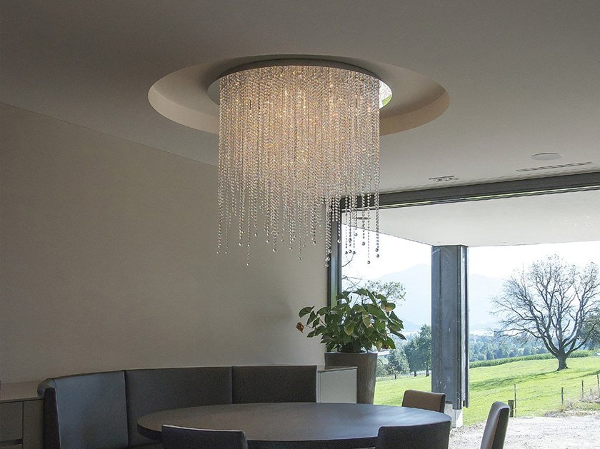 Metal ceiling lamp with Swarovski® crystals ICE FALL C by ILFARI