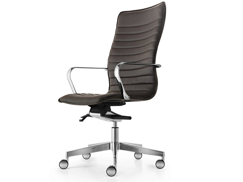 Height-adjustable leather executive chair with 5-spoke base with armrests ICE | Executive chair by Quinti Sedute