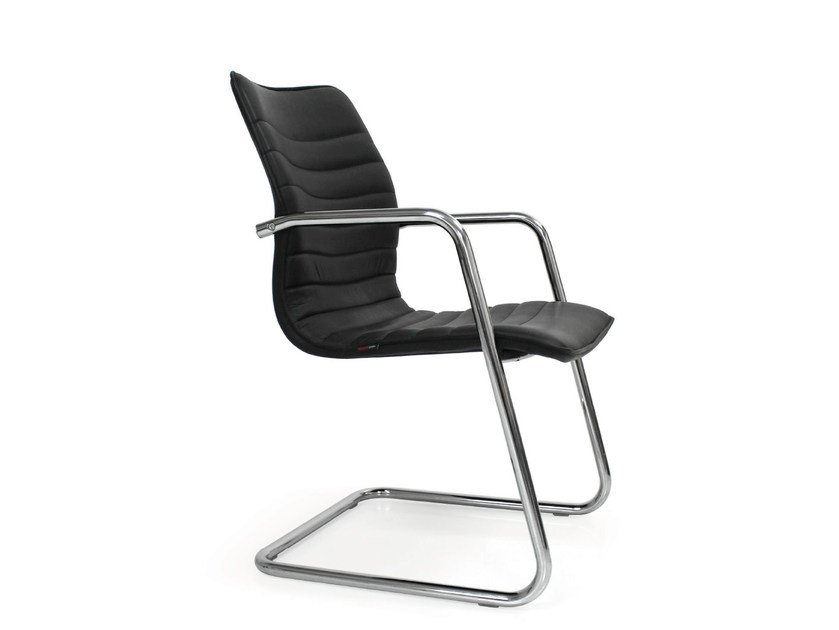 Cantilever leather reception chair ICE | Cantilever chair by Quinti Sedute