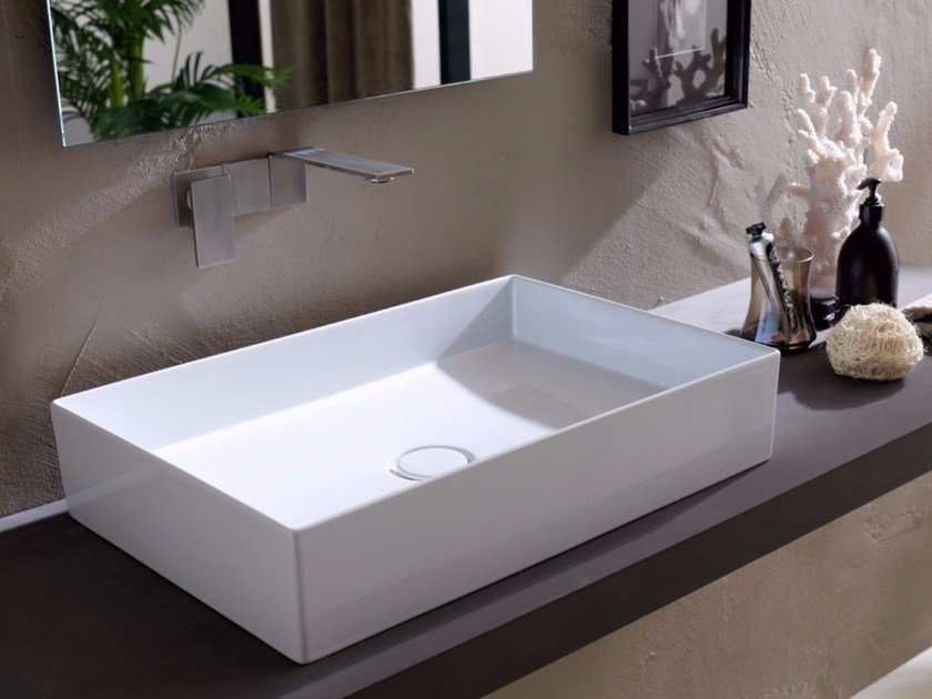 Countertop rectangular ceramic washbasin ICON 60x40 by Alice Ceramica