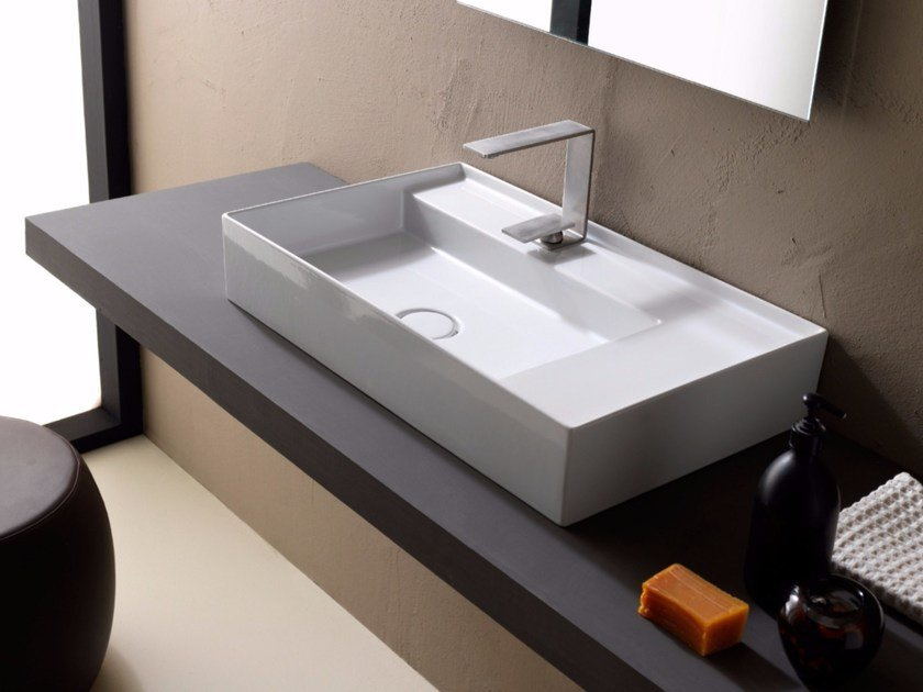 Countertop rectangular ceramic washbasin ICON 65x40 by Alice Ceramica