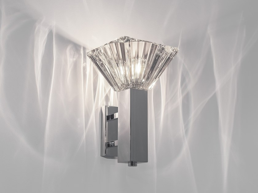 Indirect light crystal wall lamp with fixed arm ICON W1 by ILFARI