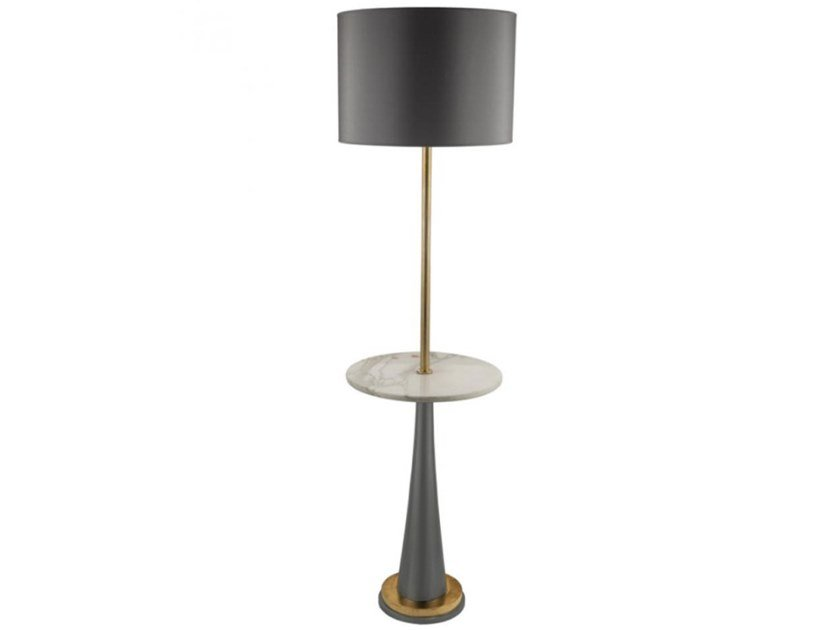 Brass floor lamp with marble shelf ICONIC 01 by Il Bronzetto