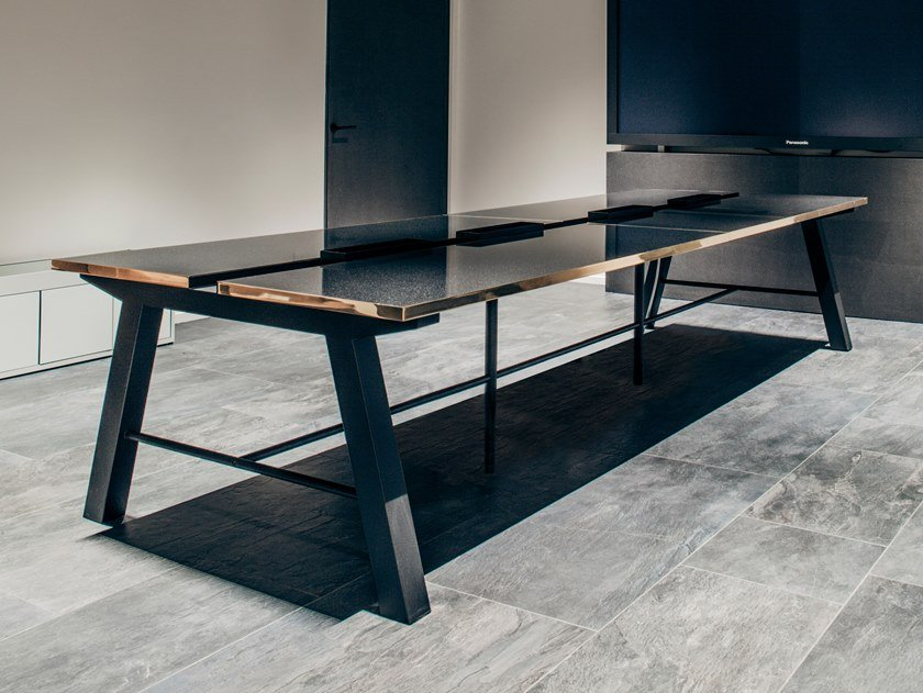 Rectangular table IENA   Marble table by Manganèse Éditions