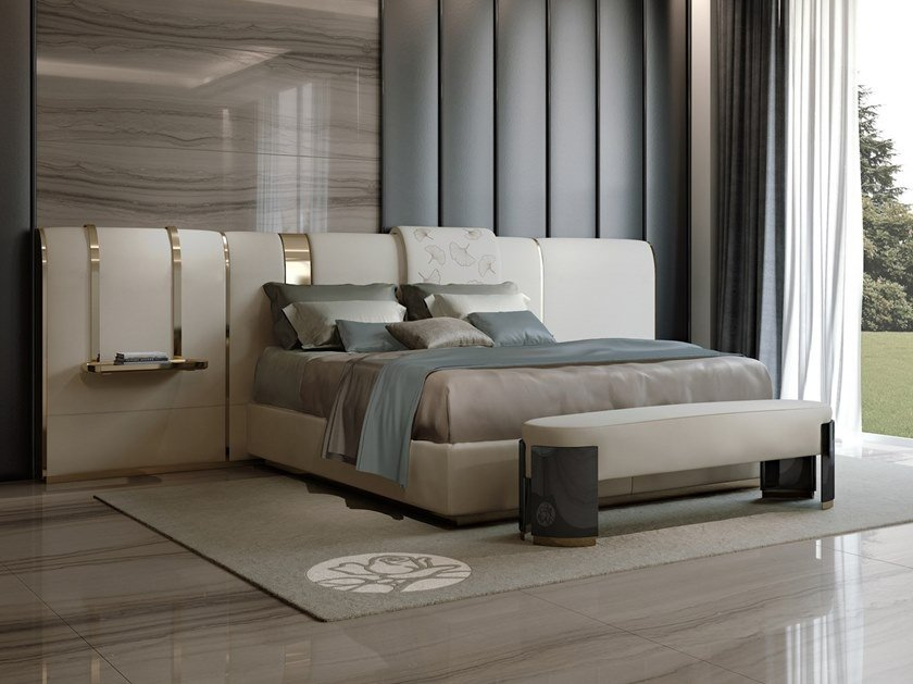 Double bed with upholstered headboard GINKO | Bed by Bizzotto