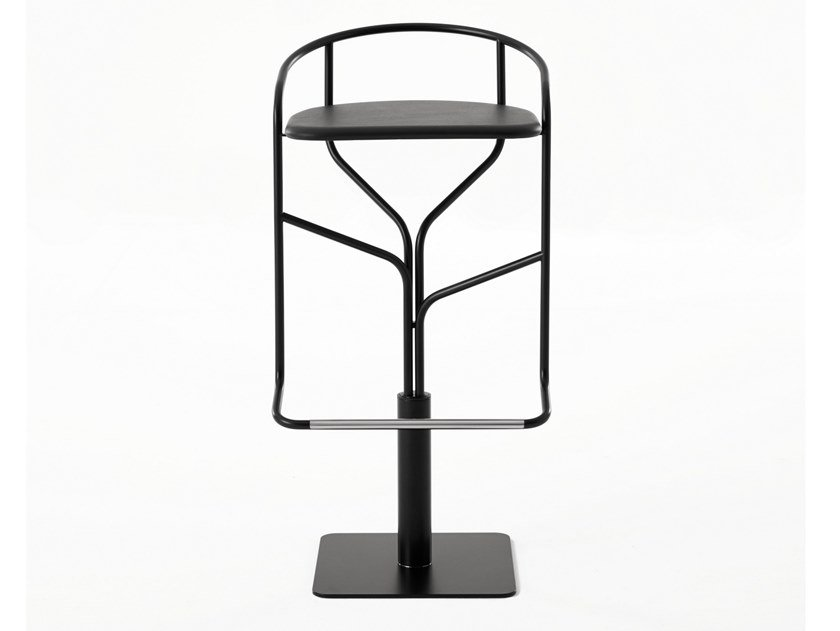 Swivel steel stool with footrest IKE | Stool by Desalto
