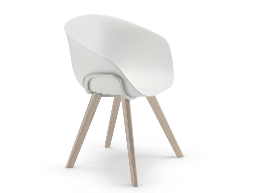 Plastic chair with armrests IKO WOOD / 05B by Alias