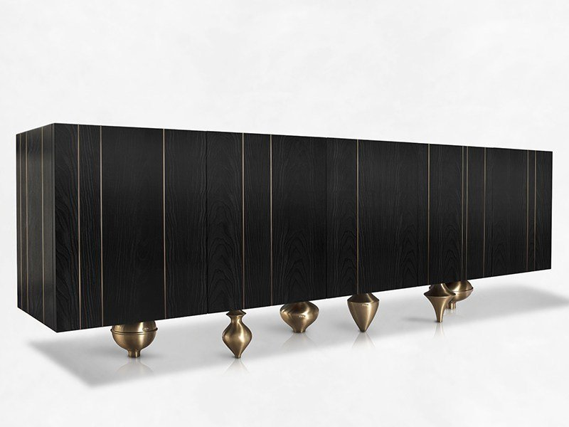 Contemporary style wooden sideboard with doors IL PEZZO 1 | Credenza Nera by Il Pezzo Mancante