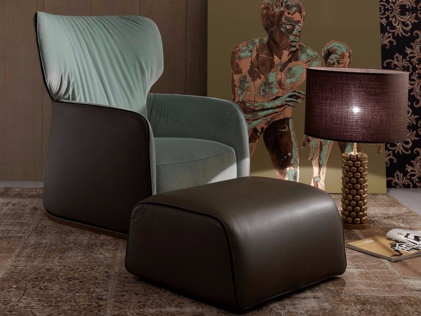 Bergere upholstered armchair with armrests ILARY by Esedra