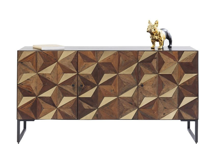 Mango sideboard with doors ILLUSION GOLD | Sideboard by KARE-DESIGN