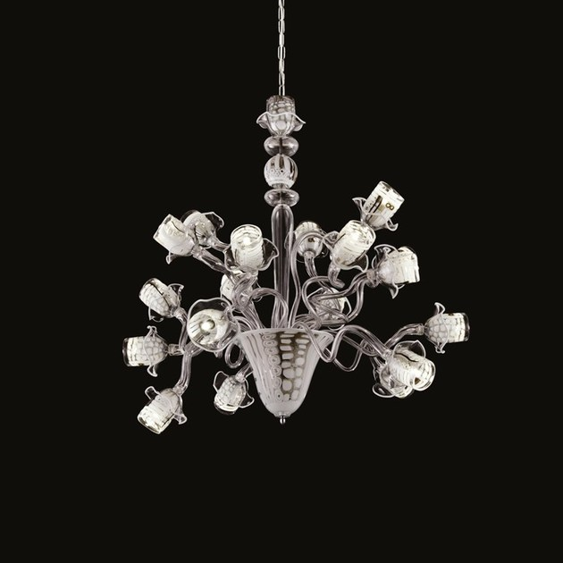 Contemporary style LED handmade glass chandelier IMAGINARIUM | Murano glass chandelier by MULTIFORME