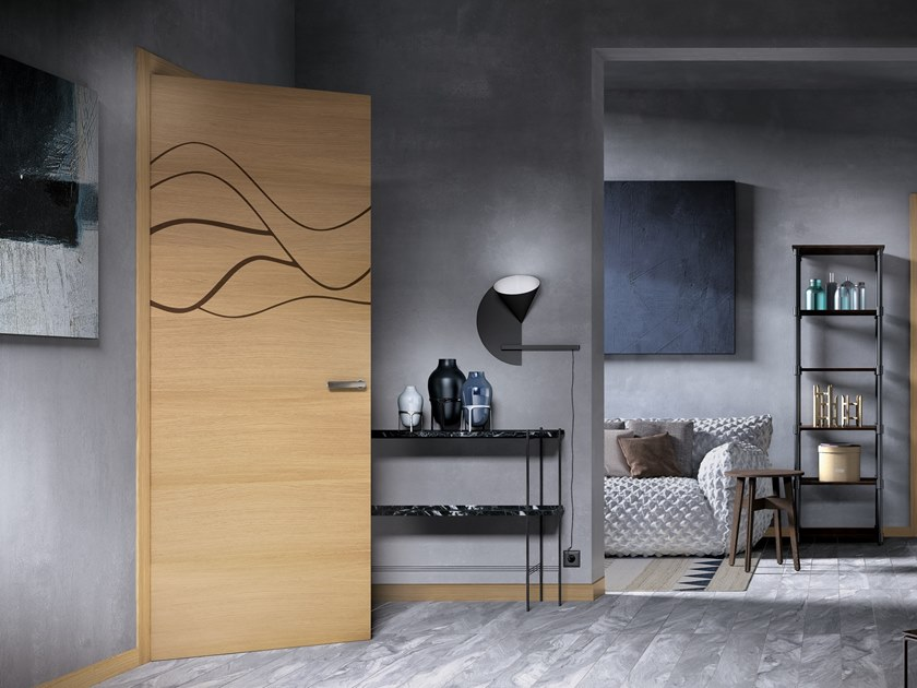 Hinged wooden door IMAGO 364T ROVERE GHIACCIO by GD DORIGO