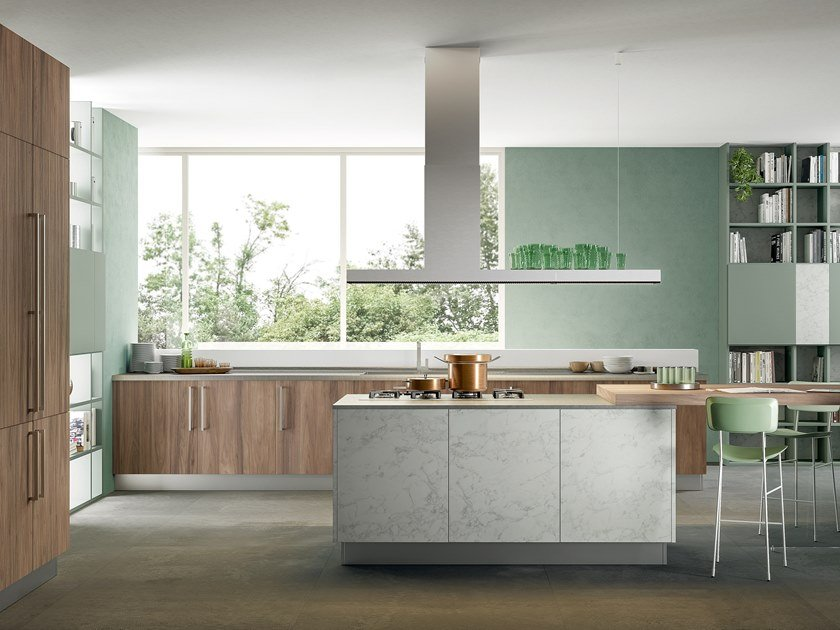 Fitted kitchen with island IMMAGINA PLUS BRIDGE 1 by Cucine Lube