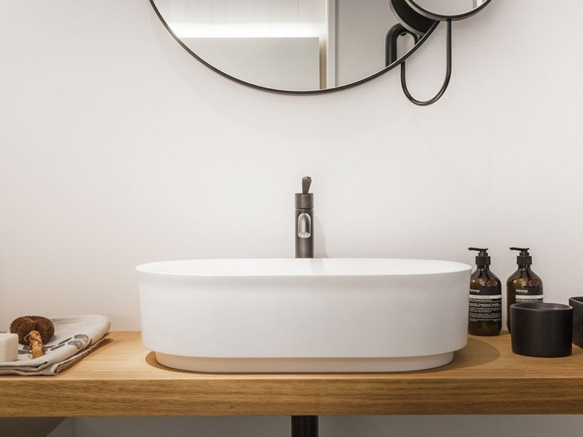 Countertop Cristalplant® washbasin IMMERSION | Countertop washbasin by Agape
