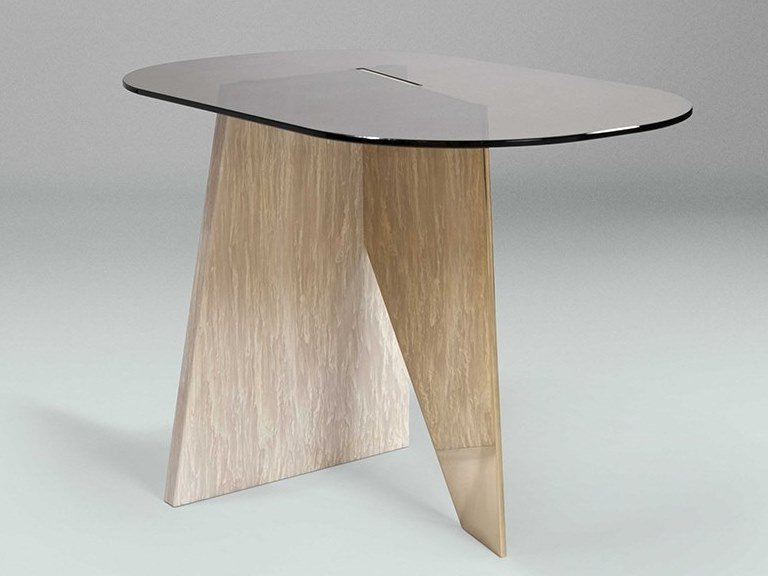 Low table in pink marble and colored glass IMPERFECT   Low coffee table by Paolo Castelli