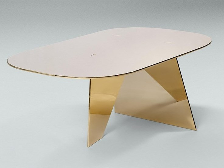 Low oval metal coffee table IMPERFECT | Metal coffee table by Paolo Castelli