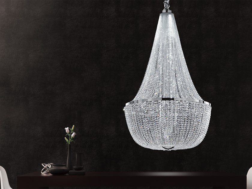 LED chrome plated pendant lamp with crystals IMPERO & DECO VE 864 by Masiero