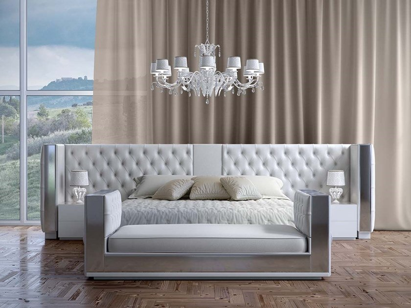 Leather bed with tufted headboard IMPERO by Scandal