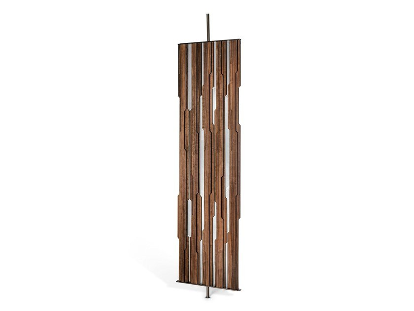 Walnut and mirror room divider IN-DEPENDENT by Arketipo