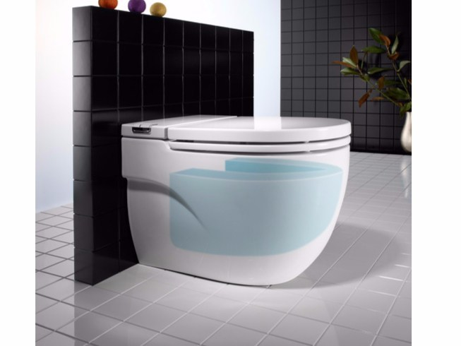 Close coupled wall-hung ceramic toilet IN-TANK MERIDIAN | Toilet by ROCA SANITARIO