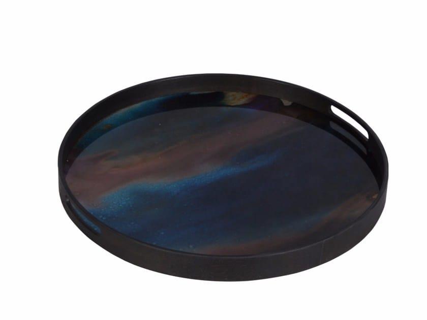 Round wooden tray INDIGO ORGANIC by Notre Monde