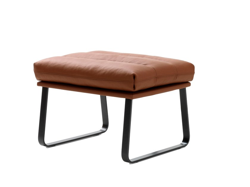 Sled base leather footstool INDRA | Footstool by LEOLUX