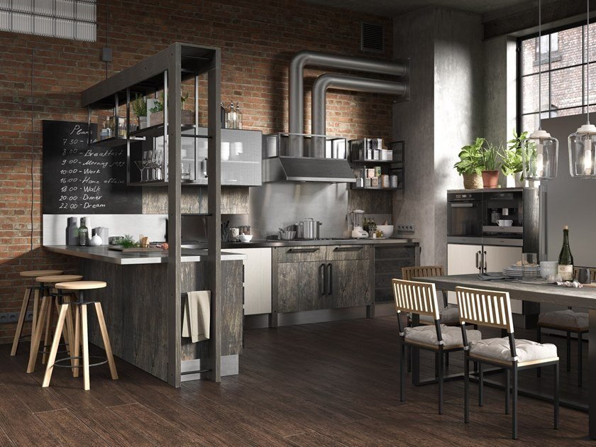 Built In Kitchen With Peninsula Industrial By Giulia Novars
