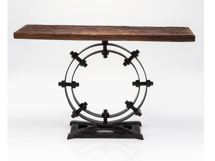 Rectangular steel and wood console table INDUSTRIAL RING by KARE-DESIGN