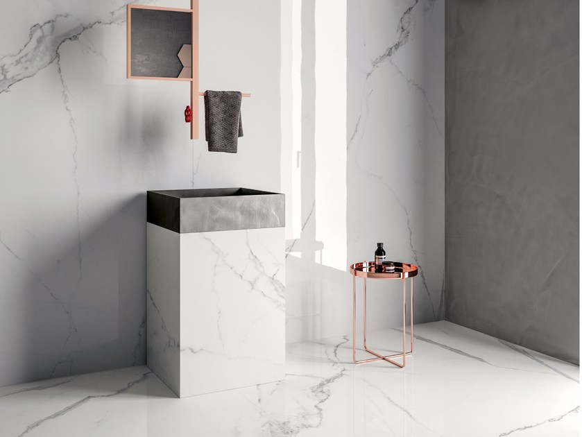 Wall/floor tiles with marble effect INFINITO 2.0 CALACATTA WHITE by CERAMICA FONDOVALLE