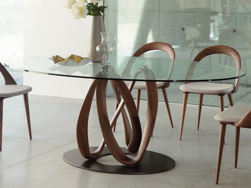 Elliptical table in solid wood and crystal top INFINITY | Table by Porada